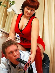 Salacious chick using her huge strap-on punishing a guy for his curiosity