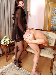 Strap-on armed gal taking shocking pleasure from porking a naked guy