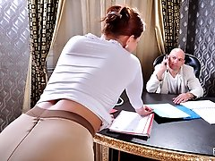 Hot sex with a pantyhosed sec appears in the agenda of a horny businessman