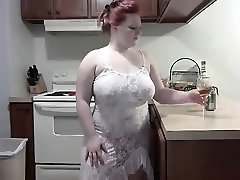 Mischievous Redhead BBW striping on Web Cam