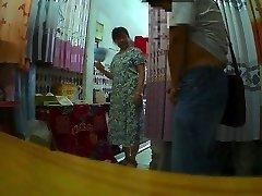 La cortina de la tienda de la tía de Parpadear