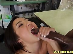 Chinese tiny honey sucking on two BBCs in trio