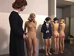 Sweet and innocent looking girls are brutally punished in the detention room