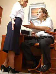 Breathtaking doggystyle fucking with sex-addicted secretary in lacy tights