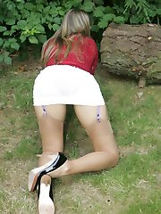 Hot girl strips in park
