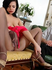Spunky brunette babe taunting horny dude with her pantyhose clad booty