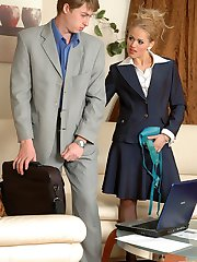 Business lady eagerly treating her kinky co-worker with her huge strap-on