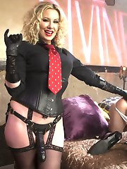 Maitresse Madeline Marlowe brings her new feminized bride to Hotel Divine for their honeymoon weekend. Tony is beautiful in full feminization and is treated like the virginal bride he is. He happily endures whipping from Madeline and her gimp bull, large toy insertions, big strap-on pegging and anal fisting so deep it pops his internal anal sphincter! He's so turned on she makes him ride his HUGE toy for her and her gimp bull's amusement while he strokes his cock. This makes him blow his load all over their black leather shoes and is made to clean it up with his mouth. As if that wasn't enough she puts him in a clear plexiglass box while his wifey Madeline gets pounded hard with gimp bull cock. Tony's little clit stick is locked away in metal chastity. She does let him leave the box but only to suck the cum off her bull's cock and she strokes the gimps dick all over the blushing brides face! The is easily the BEST cuckolding movie of the year! Not to be missed!
