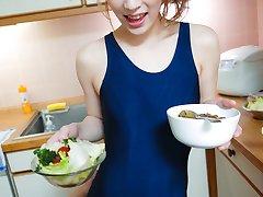 Yuu Mahiru toyed on the kitchen table until she explodes juice