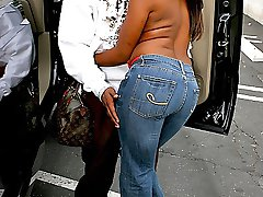 Sweet lookin sista in tight jeans goes down on a big cock