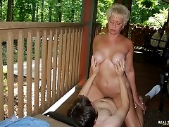 Tracy fucks the young lawn boy then gobbles every drop of his hot load