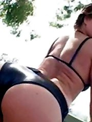 Hot chick with a sweet booty engulfs thick boner