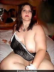 BBW maid with huge thighs gets naked