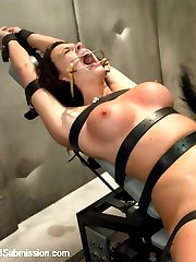Chanel Preston is spied on and gets unexpectedly visited by the fantasy squad.  She is restrained, roughly manhandled and fucked by the authority John Strong and Mr. Pete.  Chanel's fantasy comes true when pleasure is mixed with pain while she is bound, fucked in the ass and double penetrated.