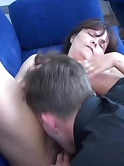 Horny mom dildoing her bush with dildo gets her pussy licked by younger stud