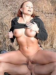 Good-sized phat furry bush honey joleen gets her sweet box rammed rigid in these hot big bush cowboy cowgirl fucking pics