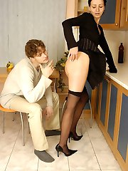 Stunning chick fitting on her new pantyhose while savoring tender kisses