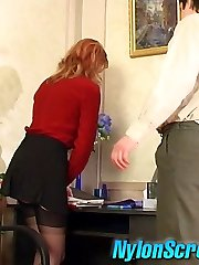 Cutie in lacy stockings tricked into spreading her muff wide for rocky cock