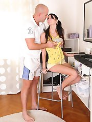 Today is a sexy day and Dinara is doing her makeup. Dinara is looking young and sexy in her yellow outfit and is looking sexy for her man.