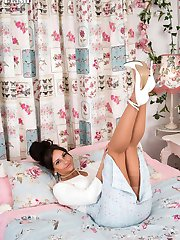 Brunette beauty, Cassie strips down to rare vintage nylons and spiky stiletto heels!