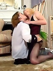 Blondie and her horny lover playing with luxury hosiery before wild banging