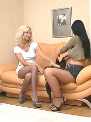 Awesome blondie in grey pantyhose getting down to lickety-split on the sofa