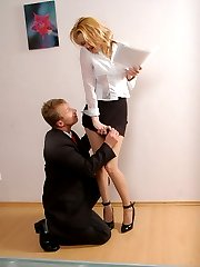 Horny coworker trying to cure feet of raunchy secretary in silky pantyhose