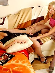 Hot chick in control top pantyhose playing numbers game with her girlfriend