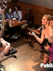 Slutty bombshell Veruca finds her match at a local bar. She arrives already bound and ready to get fucked in the ass. She loves to suck cocks while being teased and gawked at by the large crowd. She's then bound with her leg tied to the ceiling, pussy and ass spread wide open for anal. She's fucked in every hole by 2 giant cocks and covered in cum while Mona Wales and Ella Nova help get her off.