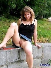 Lovely girl has fun flashing in public