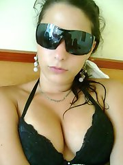 Sexy hottie exposes her juicy juggs in public