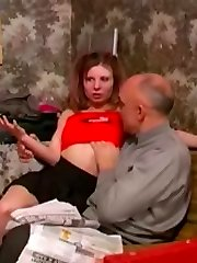 Teen slut plays with an older man