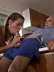 Studying in the country palace ends with ultra ultra-cute gf fucking her bfs father