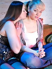 Timid doll talked into trying girl-on-girl pleasures by a sophisticated curvy milf