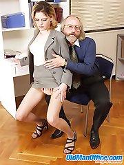 Loose blonde secretary beats ancient office guy's love rod
