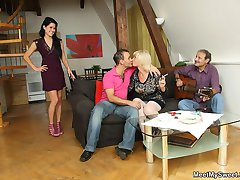 His dad has a thing for young ladies and fucks his girlfriend while his mother watches