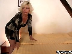 A long, skinny dick makes an aging mother-in-law moan with inexplicable pleasure.