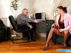 Old office manager creams his redhead secretary's hands