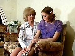 Ponytailed girl getting a taste of older pussy in steamy sixty-nine on sofa