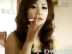 super-cute chinese girl smoking