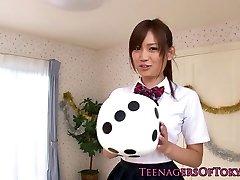 Cute asian schoolgirls anal creampie action