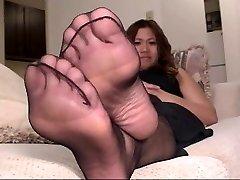 Dark-hued Pantyhose Feet Play 4