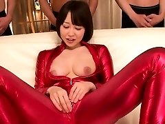asian body-suit cosplay babe sucking cock