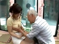 Candid young japan girl be tempted by old stud