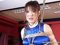 Roped asian pregnant sex gimp gets huge breasts rubbed