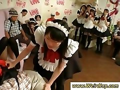 Puny Japanese maid gets punished for being bad while all watch