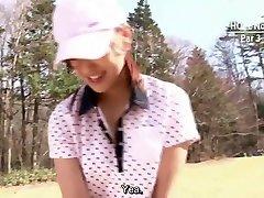 יפנית גולף מצונזר מציצה אתגר