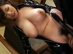 Latex asian gal with big tits