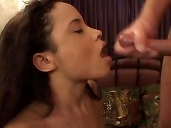 Petite oriental in red lingerie gives a wet and wild blowjob