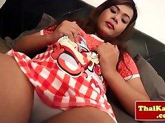 Solo oriental tgirl cumming in slowmotion